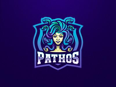 Pathos medusa snakes logo design gaming logo esports sport logo