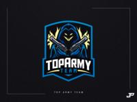 Top Army Team skull branding illustration blue logo gaming logotype gaming logo sport logo logo design esports