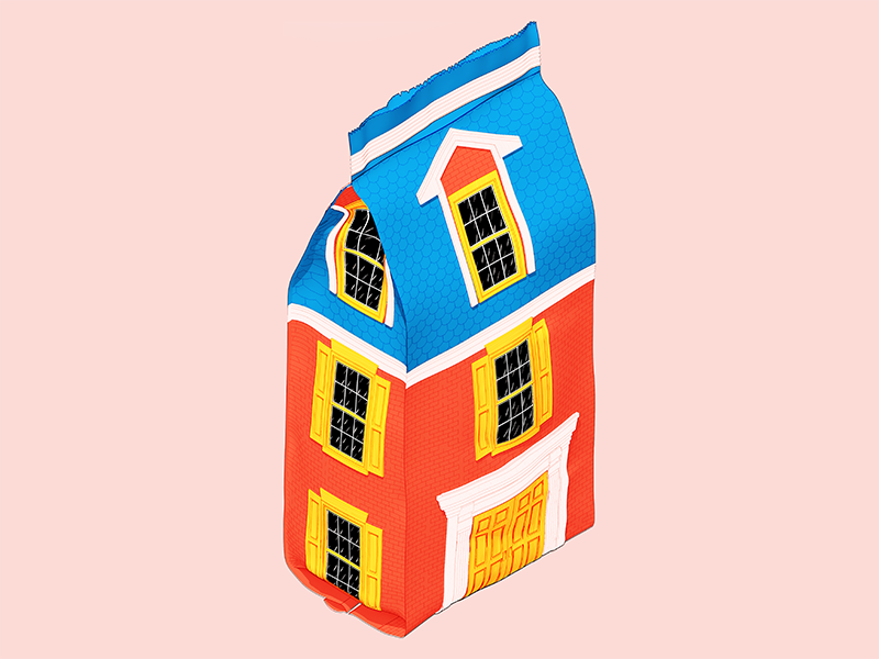 A Pouch House architecture 3d illustration