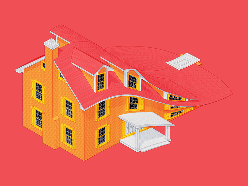 A Squished House architecture 3d illustration