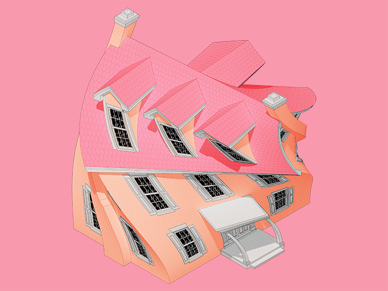 Twisted House architecture 3d illustration