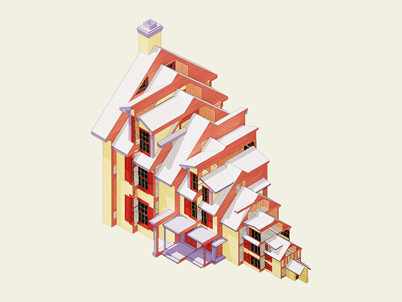 Stepped House design direction architecture 3d illustration