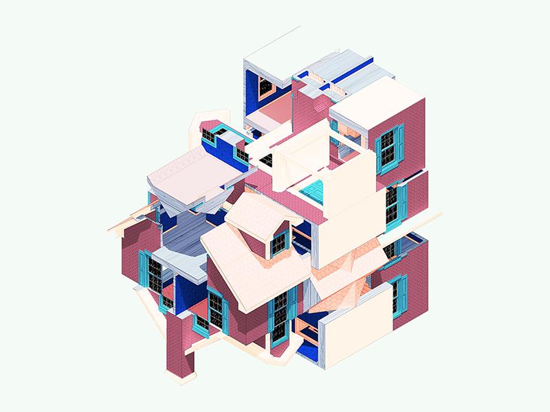 Rubiks Cube House color art design architecture 3d illustration