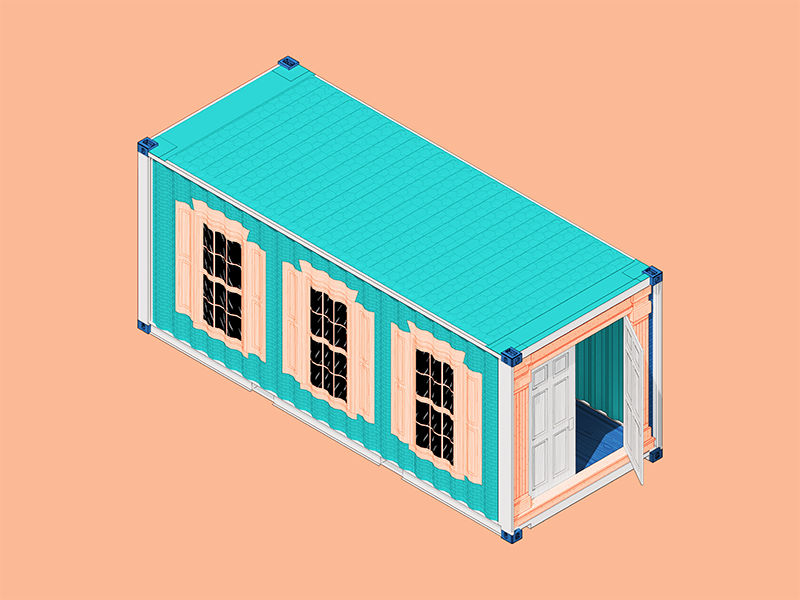 Container House color art design architecture 3d illustration