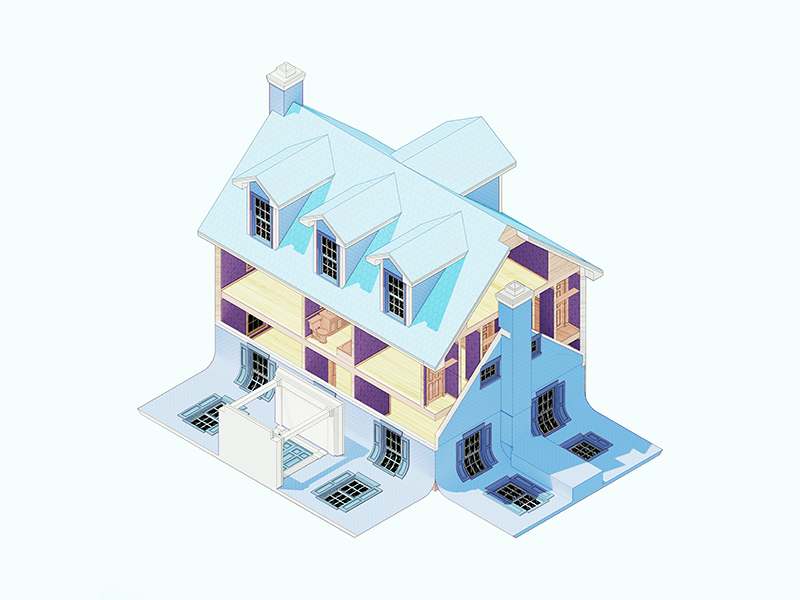 Sliding Wall House 3d architecture design illustration
