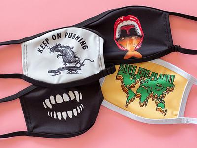 Chomp Facial Coverings planet mouth skateboarding rat teeth accessories apparel coronavirus mask illustration