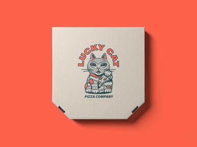 Lucky Cat Pizza Branding restaurant menu pizza lucky cat logo illustration branding