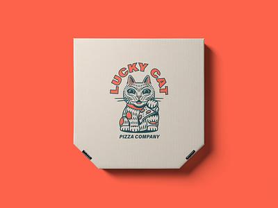 Lucky Cat Pizza Branding restaurant menu pizza lucky cat logo illustration branding