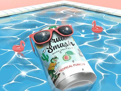 Fruit Smash Illustrations waves ocean palms seltzer drink pool illustration