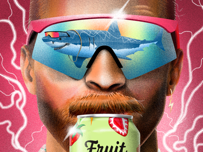 Fruit Smash Illustrations waves ocean palms seltzer drink pool illustration