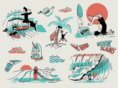 Aloha Kook hawaiian chomp drawing ocean illustration wave waves surf slams kook