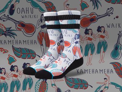 Oahu Sox hawaii aloha repeat print stance socks
