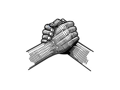 Together hand shake hands illustration vector etch etching