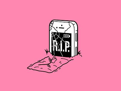 Broken Screen grave tombstone illustration crack iphone phone