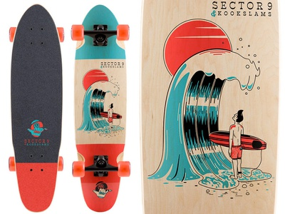 Sector9 x Kookslams skateboard shaka illustration retro sun wave shorepound wavestorm softtop surfing