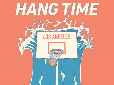 Hangtime LA Poster ocean court dunk ball hoop basketball wave dribbble poster illustration