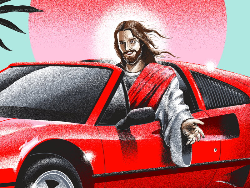 Jesus, take the wheel chomp pink palms airbrush sunset lord ferrari christ jesus illustration