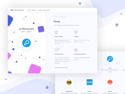 Product Graveyard - Detail Screen desktop site ndduong web ux ui product graveyard