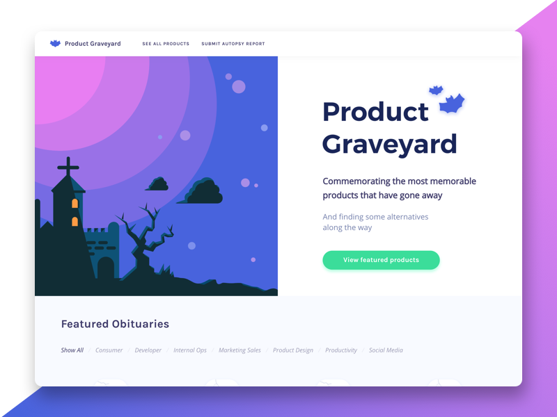 Product Graveyard - Home Screen interface simple clean ux ui product graveyard home screen landing page dekstop