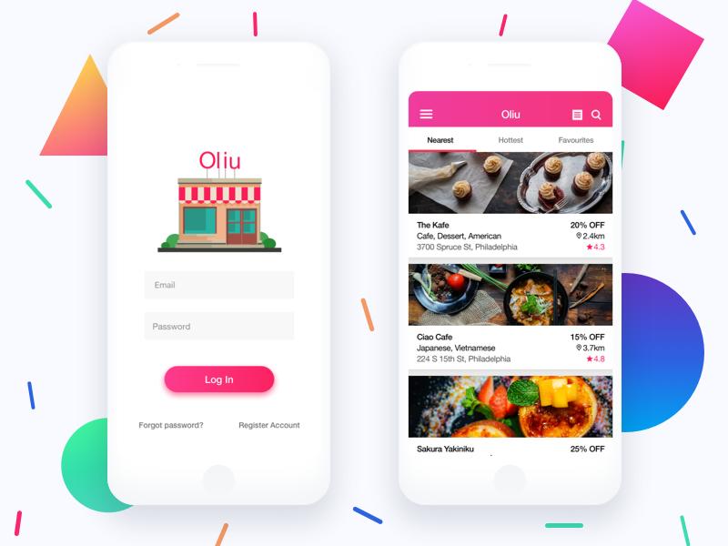Restaurant App ui iphone clean gradient discount coupon mobile restaurant colorful app