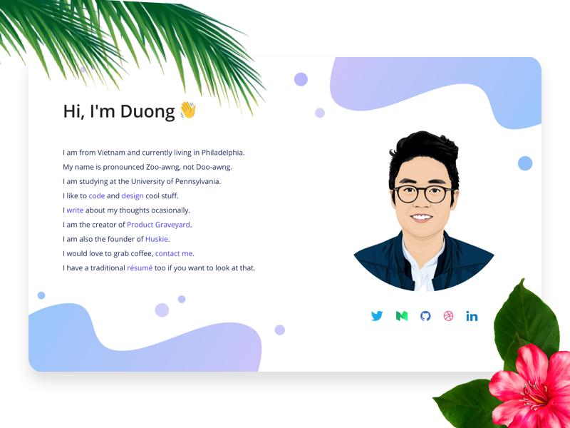 Personal Website showcase portfolio gradient site modern landing resume website personal clean