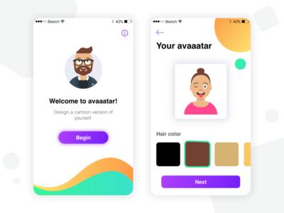 Avaaatars App gradient clean ux ui sketch social cartoon illustration app mobile avaaatar avatar