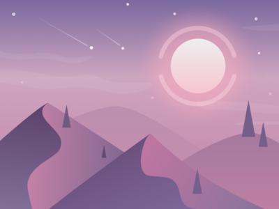 Desert Night Sky journey gradient purple shooting stars scenery sun sand landscape illustration sky night desert