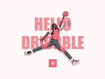Air Dribbble air jordan nike illustration michael jordan debut shot hello dribbble