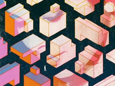 Isometric Isolation illustration woman man colorful isometric geometric