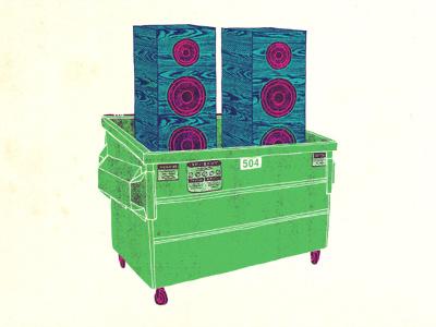 Sounds like garbage trash garbage dumpster speakers illustration
