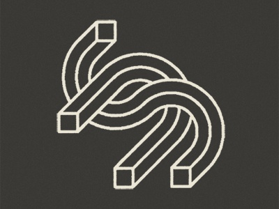 Logo in the works cube lettering minimal square geometric logomark logo