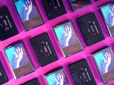 Bell Mountain cassette & free download aldum art synthesizer music magenta night moon hand tape cassette