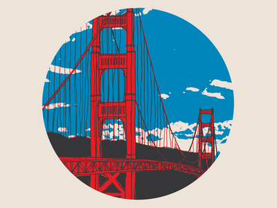 Golden Gate Bridge california hand drawn overprinting sky illustration san francisco bridge golden gate
