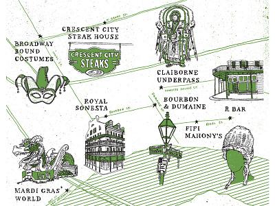 Wildsam - Mardi Gras Map float bourbon st carnival mask drawing illustration map parade nola mardi gras louisiana new orleans