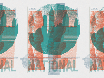 The National tee design buildings skyline new york city overprinting collage the national screenprint design shirt t-shirt