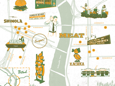 Portland / Wildsam X Shinola field guide drawing icons oregon portland illustration map