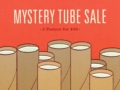 Mystery Tube Sale 2012 poster screen print