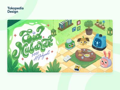 Tokopedia - Eid Mubarak mascot brand identity character design design tokopedia identity 2d character character 2d animation eid mubarak branding illustration animation