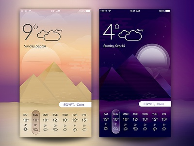 Weather in Egypt day&night illustration cairo sun desert pyramids cloudy egypt night day weather