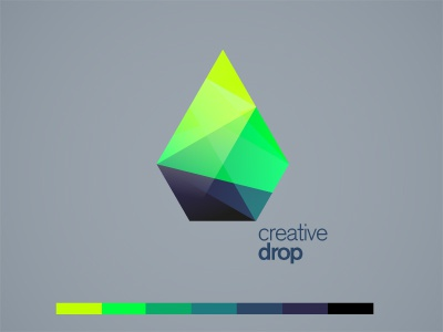 creative drop logo edgy rainbow drop brand branding identity origami colorful color smaragd creative geometry diamond sharp crystal shapes gradient violett glass green dark water polygon grey cube design sapphire icon vector