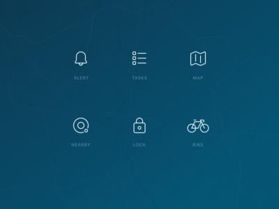 Bike Management Icons lock bicycle bike map tasks alert mobility urban stroke lines glyphs icons