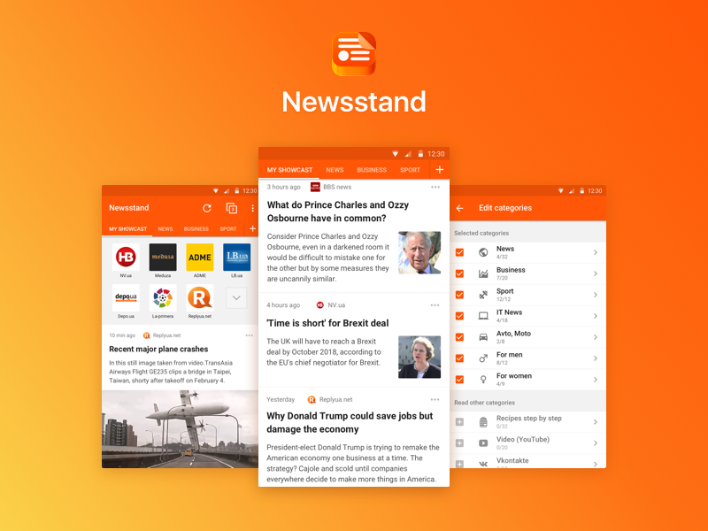 All news in one app, Newsstand news app read news application interface android ux ui app news newsstand