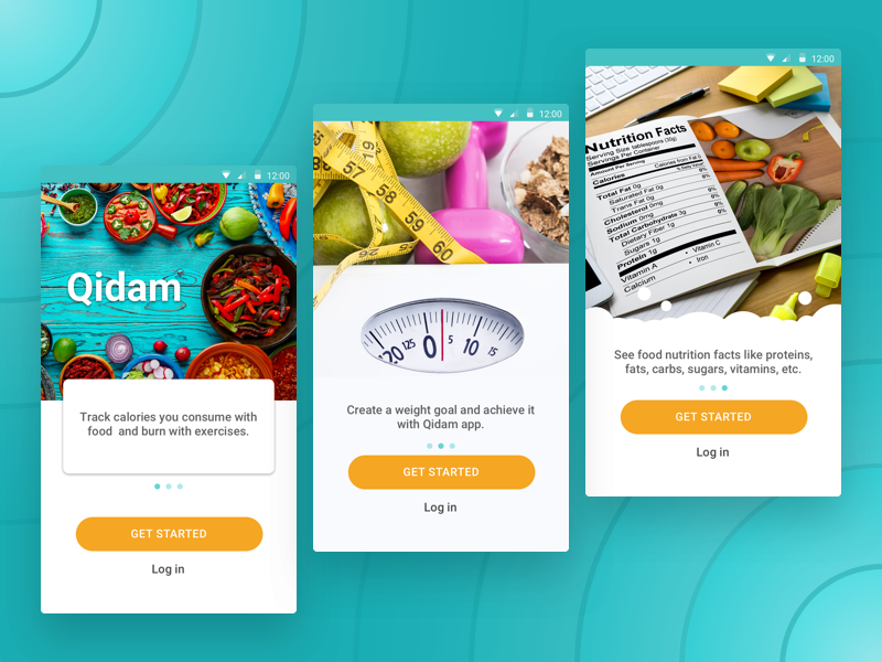 Qidam: Onboarding weight water proteins nutrition food fats exercises carbs calories onboarding