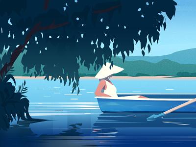 Lake sky water landscape vector woman girl art illustration
