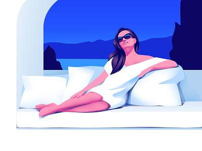 Sunny day lady sky water landscape design light vector woman art illustration