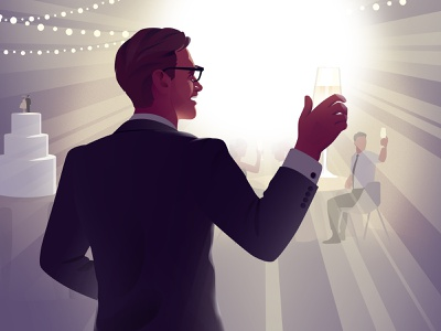 Best man speech toast wedding design light vector art illustration
