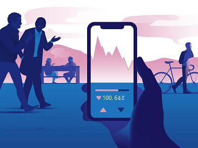 Consumer perception impacting stock fluctuation sky landscape design light vector art illustration