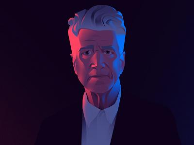 David Lynch turns 75 man portrait david lynch flat design light vector illustration