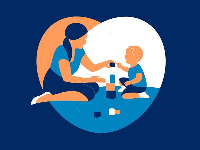 Parenting toddlers child motherhood mother flat relationship logo love design woman vector art illustration