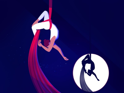 Aerial gymnast circus light woman design vector art illustration